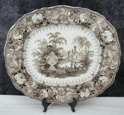 "Antique Staffordshire Ancona Pattern Brown Transferware 19"" Pearlware Platter"