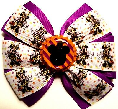 Halloween Minnie Mouse Inspired Hair Bow Minnie Mouse Halloween Girls Bow Clip