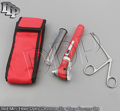 Red Mini Fiber Optic Otoscope Led Diagnosticalligator Ent Ear Nose Forceps Kit