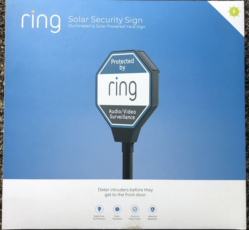 Ring Solar Security Sign - Solar Powered - lights up - Brand New In A Box!