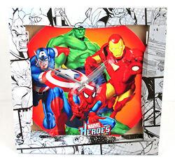 Marvel Super Heroes 13.75 Collectible Glass Clock Hulk Spider-Man Iron Man BNIB