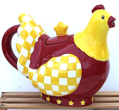 2005 Boyd's Home Yellow Checkered Chicken Red Apron Collectible Teapot