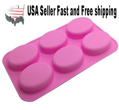 6 Cavity DIY Handmade Oval Silicone Mold for Soap Bar US Seller