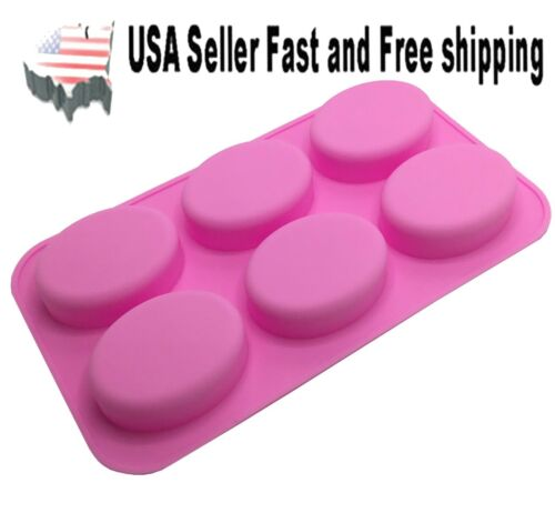 6 Cavity DIY Handmade Oval Silicone Mold for Soap Bar ~ US Seller