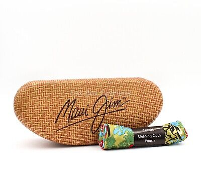 MAUI JIM Case Hard Clamshell & Cleaning Cloth Pouch ~ Large Size for (Maui Jim Cleaning)