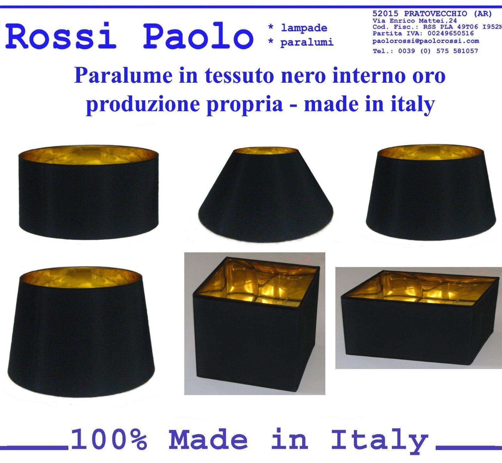 Paralume paraluce coprilampada in tessuto nero interno oro - made in Italy