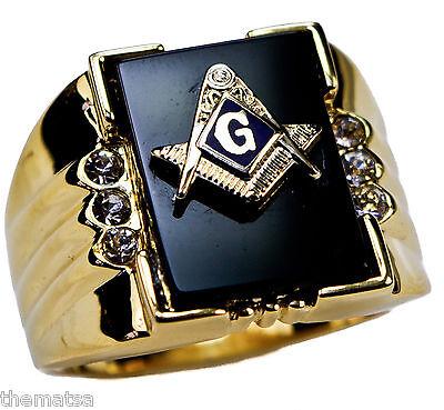 MENS BLUE LODGE MASONIC 18K GOLD ONYX CRYSTAL RING SIZE 9 10 11 12 13 14