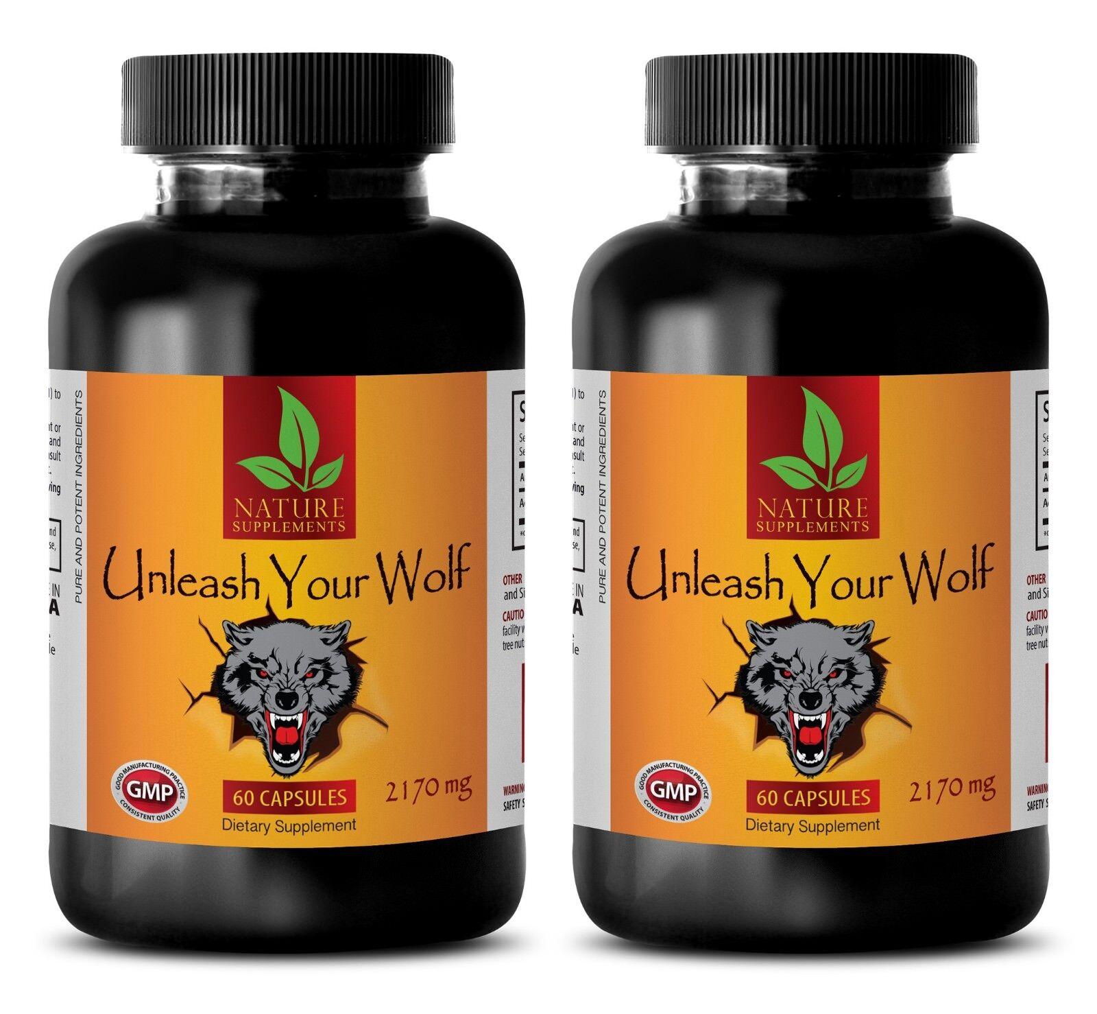 libido herbal - UNLEASH YOUR WOLF - maca energy - 2 Bottles (120 Capsules)