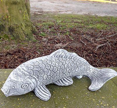 Steinfigur großer Koi Frostfest Garten Deko Steinguss Fisch Gartenfigur groß