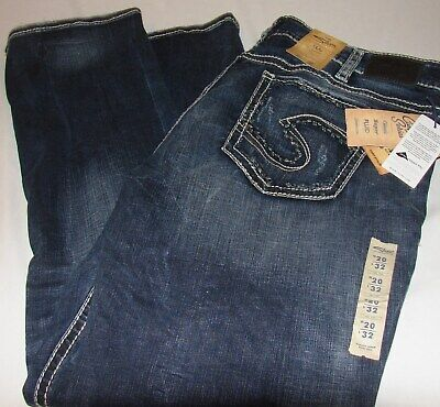 WOMENS SILVER JEANS SUKI MID RISE STRAIGHT LEG PLUS SIZE 20 32 LENGTH NWT - Mid Length Jeans