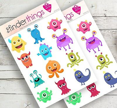 Fun Stickers (Cute Monsters Scary Stickers Scrapbook Planners Diary Fun Crafts)
