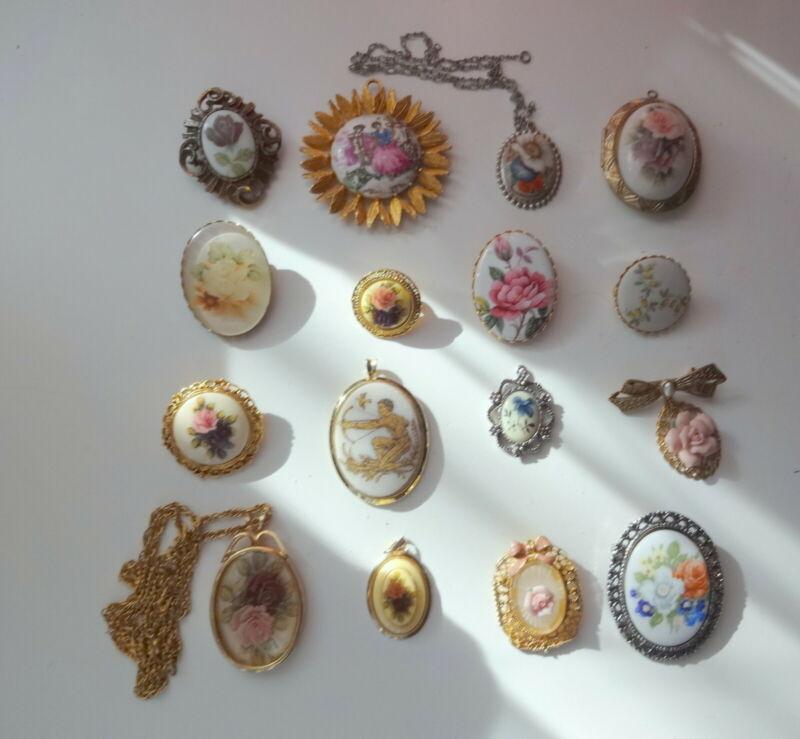 Vtg 16pc Pendants Lockets Pins Brooches Porcelain Enamel Hand Painted Flowers