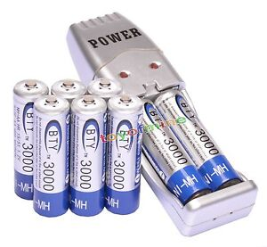 8x 2A AA 3000mAh 1.2 V Ni-MH BTY Rechargeable Battery Cell + AA/AAA USB Charger