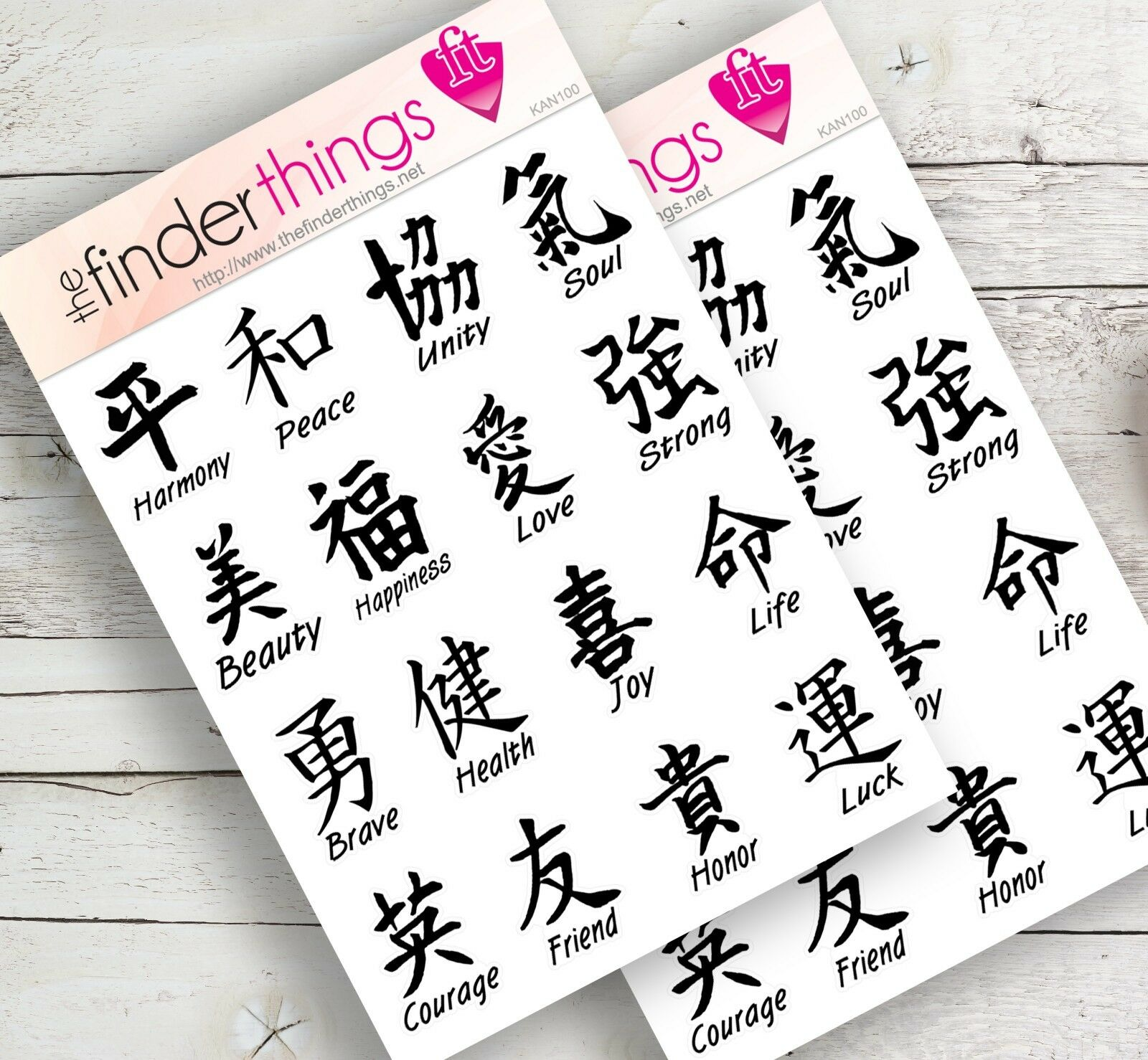 Japanese Kanji Letters Stickers for Scrapbook Planners Diary