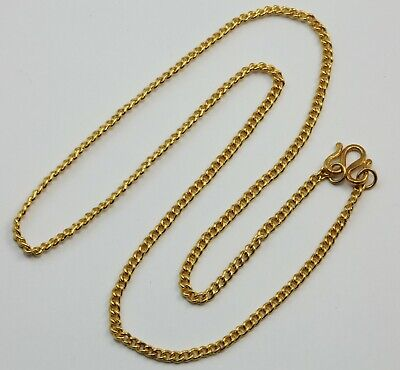 24K Solid Yellow Gold Cuban Link Chain Necklace 14.4 Grams