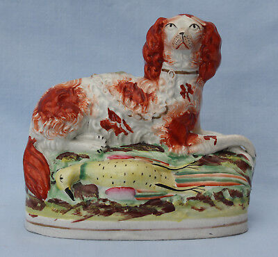 Fine Quality Antique Staffordshire Pottery Spaniel & Game Bird