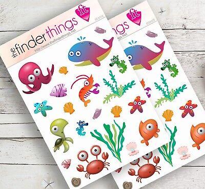 Under the Sea Creatures 2 Stickers Scrapbook Planners Diary Fun Crafts - Under The Sea Crafts