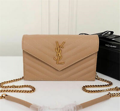 AUTHENTIC YSL Saint Laurent Monogram Wallet Chain Bag Shoulder Bag beige leather