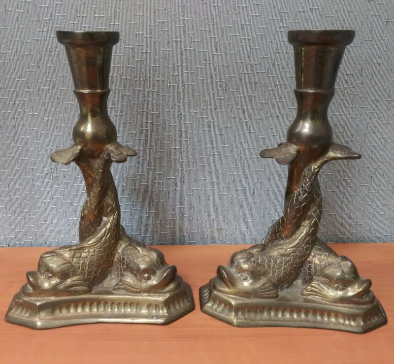 """Vintage Pair of Twisted Three Dolphin Koi Fish Solid Brass Candle Holders 8.5"""""""