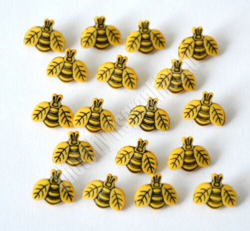 Tiny Bees ~ Button Fun 1858 / Jesse James Dress It Up / Golden Yellow Shank Back