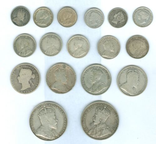 Genuine 16 Different Early Silver Canadian 5 Cent to 50 Cent. Good to XF Details