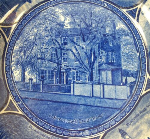 Blue Transferware Plate Longfellows Home Rowland Marsellus Staffordshire Pottery