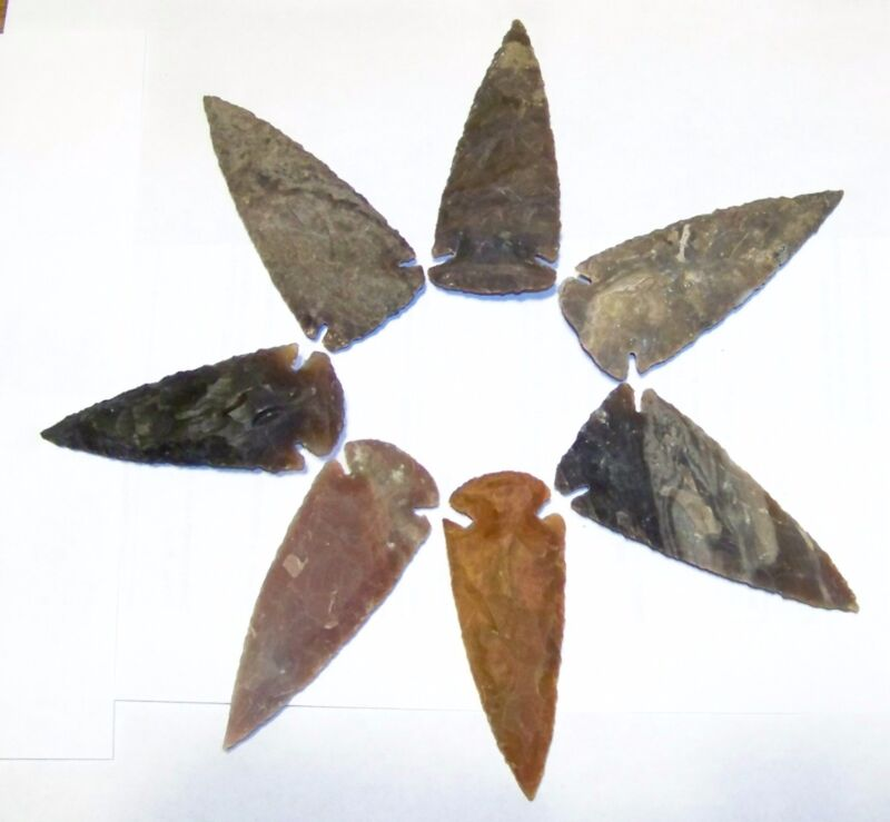 """10  2 3/4"""" - 3 1/2"""" NEW AGATE ARROWHEADS FOR, JEWELRY, CRAFTS, REPRODUCTION"""