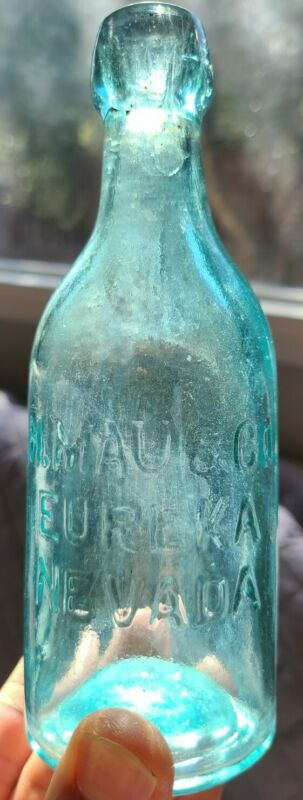 ANTIQUE H. MAU EUREKA NEVADA Glass Soda bottle Embossed Blob top 19th century