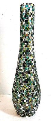 CONTEMPORARY TURQUOISE GREEN & MIRROR MOSAIC GLASS VASE 14.75
