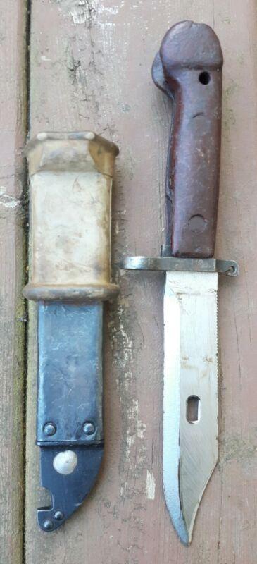 Vtg. Romanian Army Military Bayonet Knife w/ Scabbard