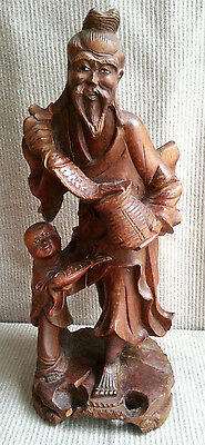 ANT Chinese Carved Wood Statue Figurine Immortal Lucky Boy Inlay Eyes KOI Fish
