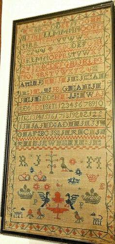 1811 Scottish Cross Stitch Sampler Red & Green Alphabet Numbers Bird Tree Crowns