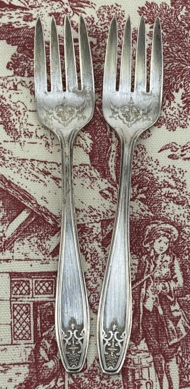 2 Lady Doris Silver plated Salad Forks 1920's-30's Vintage Flatwear