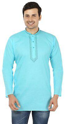 Indian Clothing Fashion Shirt Embroidered Mens Short Kurta Cotton India -