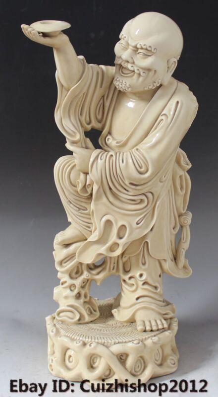 "18"" Buddhism Dehua Porcelain Arhat Damo Bodhidharma Dharma Buddha Statue"
