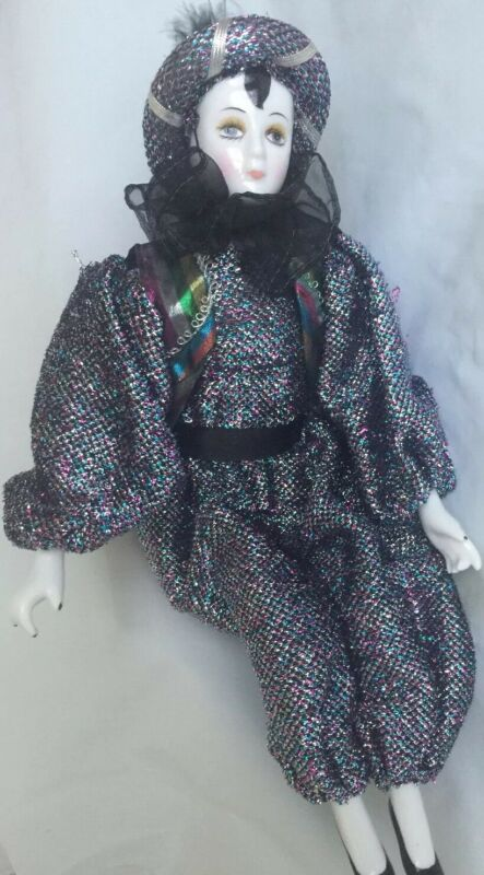 """Mardi Gras Doll porcelain New Orleans hand painted 14"""" tall"""