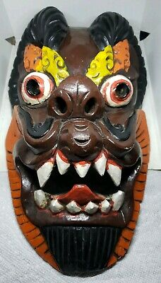 antique wood carved mask glass eyes painted