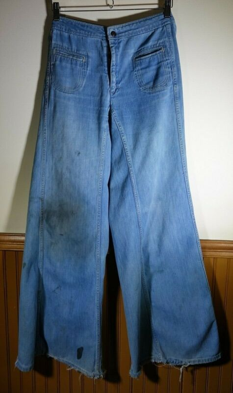 Vintage Early 1970s Sailor Style Landlubbers Wide Leg Bell Bottom Jeans 28x31