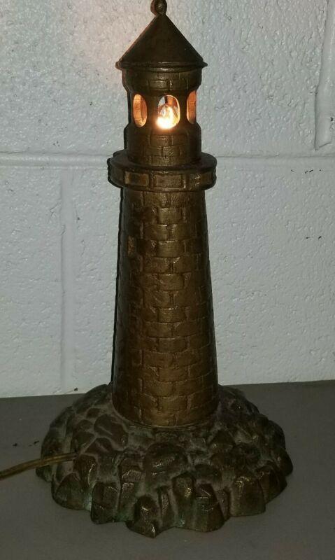 """1920s-30s Brass LIGHTHOUSE Lamp  NAUTICAL Light 13"""" Tall 13lbs Art Deco Fixture"""