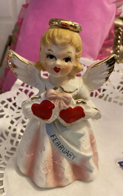 Vintage Girl Angel Figurine February Birthday With Hearts