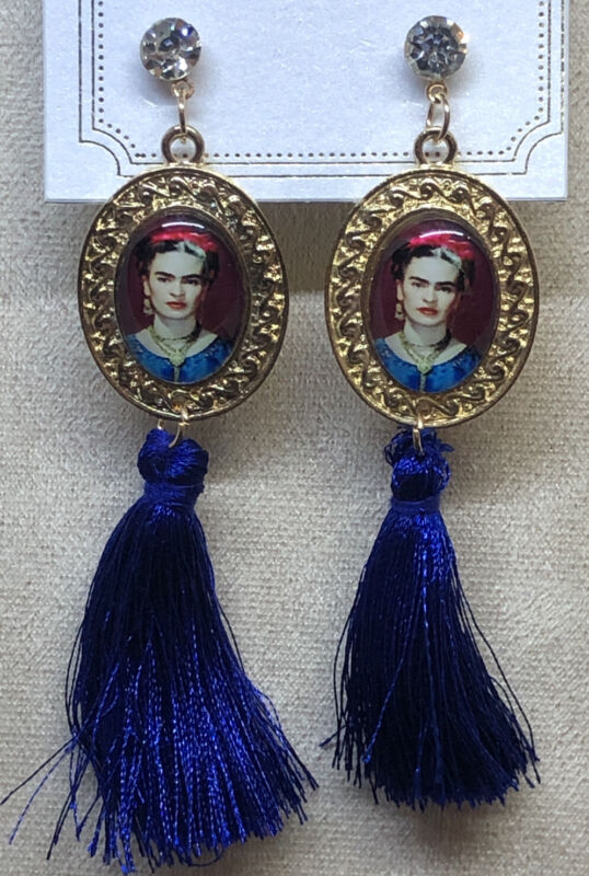 Frida Kahlo With Tassel Blue Fashion Earrings