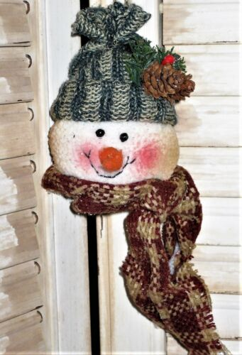 BLUE hat SNOWMAN HEAD Ornament use on Tree, Wreath, Garland any decoration  cl
