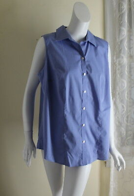 Talbots Sz 14W Wrinkle Resistant Blue Fine Woven Sleeveless Oxford Shirt Top