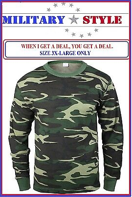 Camo Thermal Underwear Top - 3X-LARGE ONLY Woodland Camo Thermal Knit Underwear TOP 6201 BLOW OUT SPECIAL $$$