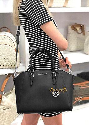 Michael Kors Ciara Large Satchel Saffiano Leather Top Zip Bag Black Silver