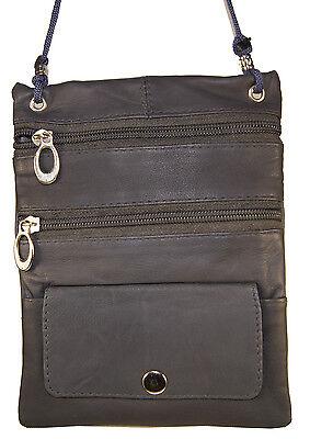 Leather Thin Document Passport Holder String Neck Pouch Travel Case Grey