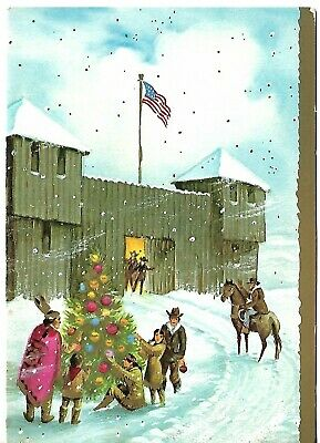 """VTG Christmas Card approx 5 X 7"""" Cowboys Outside of Fort Decorating Tree"""