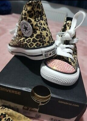 stom Crystal Diamante Bling UK Infant size 4 girls  (Kinder Converse Leopard)