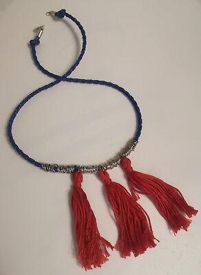 Selbstgemachte Halskette mit Muline, blau und rot, hangemacht, DIY ()