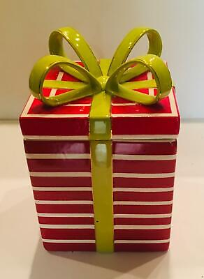 "Vintage Christmas Present Cookie Jar Red Stripes Green Bow 5.5"" x 5.5"""